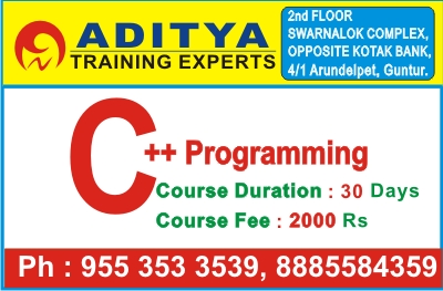 CPP Course, C++ Programming in GUNTUR, C++ Training in GUNTUR, C++ Course in GUNTUR, C Programming @ Aditya Training Experts