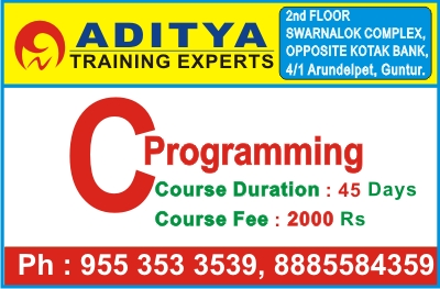 C Programming Course in Guntur, C Language Training Institute in Guntur, C Course in Guntur @ Aditya Training Experts