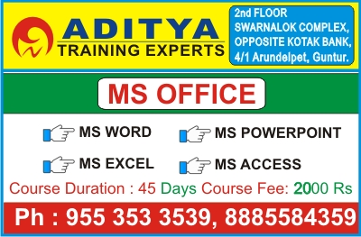 Ms Office training in Guntur, Ms Office Course in Guntur, Ms Office Institute in Guntur, Advanced Excel Course in Guntur @ Aditya Training Experts