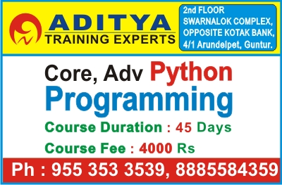 Python Course in Guntur, Python Training in Guntur, Python Institutes in Guntur, Python Programming in Guntur, Best Python Coaching Center in Guntur – Aditya Training Experts