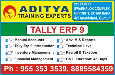 Tally course in Guntur, Tally Training in Guntur, Tally Institute in Guntur @ Aditya Training Experts